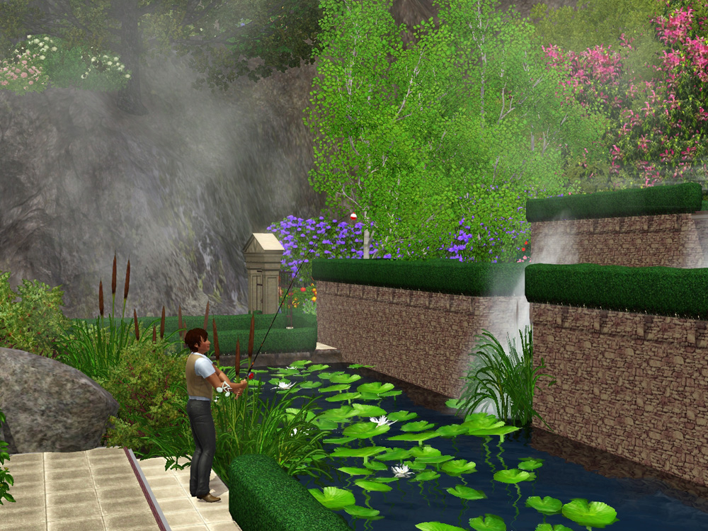 Middle waterfall basin terraced park